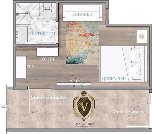 The floor plan of Relaxing Private Studio near LaGuardia Airport