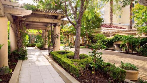 A garden outside Hyatt Regency Valencia- Magic Mountain