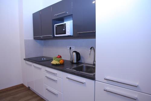 Kuchyň nebo kuchyňský kout v ubytování Apartment Alex