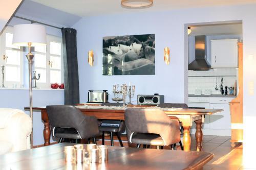 Küche/Küchenzeile in der Unterkunft Ferienwohnung im Blauen Haus