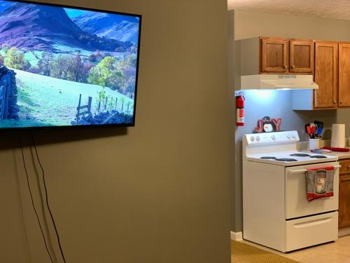 A television and/or entertainment center at Jackson Apartments Unit B