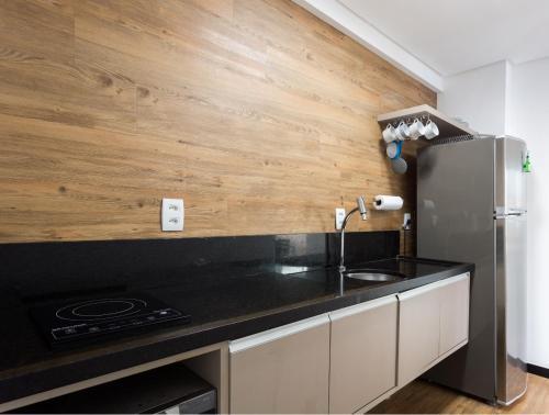 A kitchen or kitchenette at Hotel em Boa Viagem 20 andar