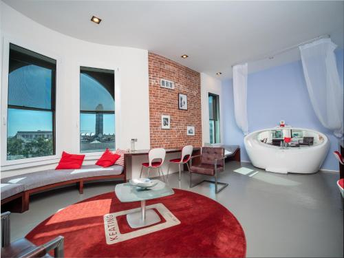 A seating area at The Keating Hotel by Pininfarina