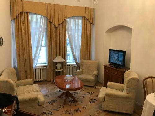 Гостиная зона в Apartment Rubisteina 3
