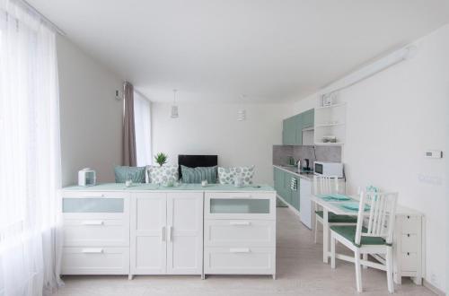 Kuchyň nebo kuchyňský kout v ubytování apartments in Karolina Plazza
