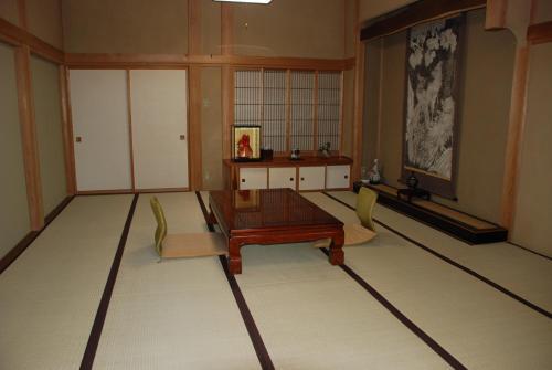 A seating area at Oshi Ryokan