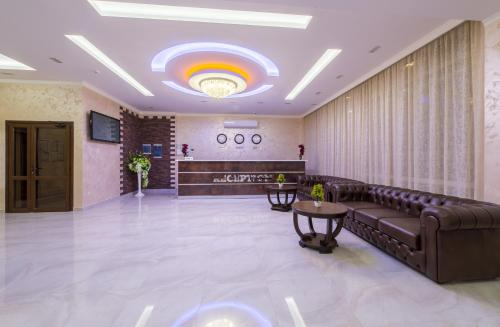 The lobby or reception area at Leonsia Family Hotel