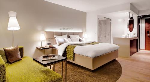 Ein Bett oder Betten in einem Zimmer der Unterkunft Kremstalerhof