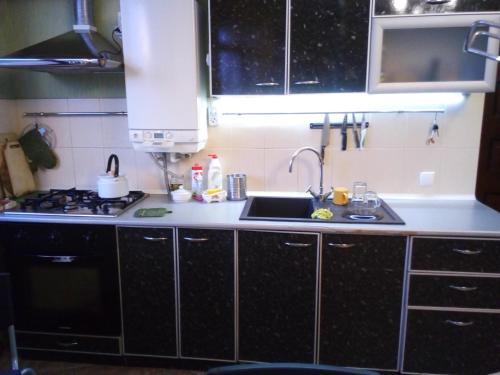 Кухня или мини-кухня в Apartment on Plehanova