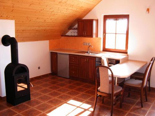 Kuchyň nebo kuchyňský kout v ubytování Apartmán Pohoda