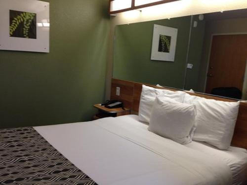 A bed or beds in a room at Microtel Inn & Suites by Wyndham Saraland