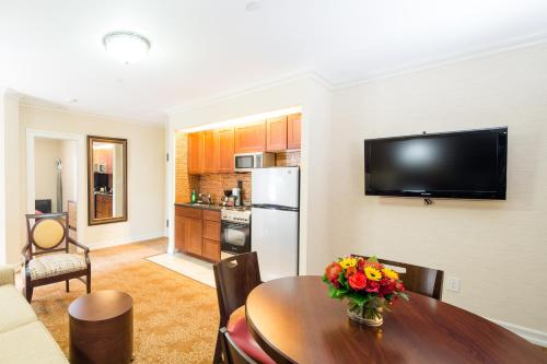 A television and/or entertainment center at Radio City Apartments