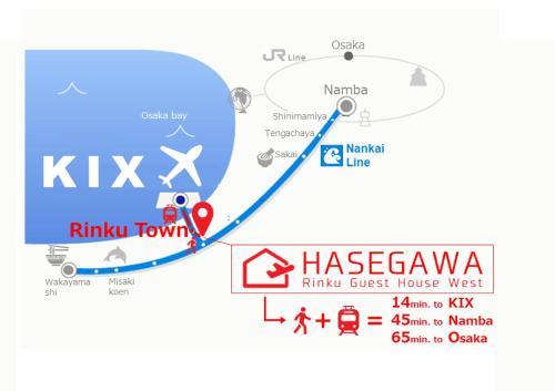 HASEGAWA Rinku Guest House Westの鳥瞰図