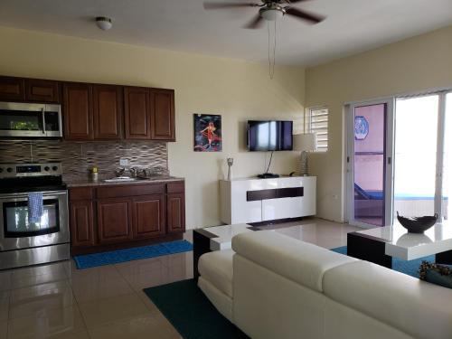 A kitchen or kitchenette at Villa Indigo Sunny 1BR Apartment in Private Gated Estate