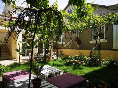 """A garden outside Guest House """"Mesto pod solntsem"""""""