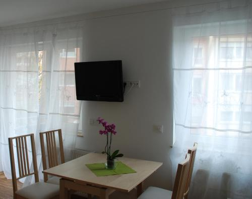 A television and/or entertainment centre at Altstadt-Apartment