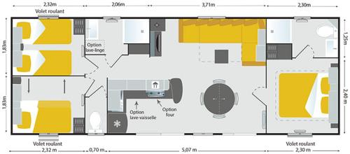 The floor plan of Camping Le Dolium