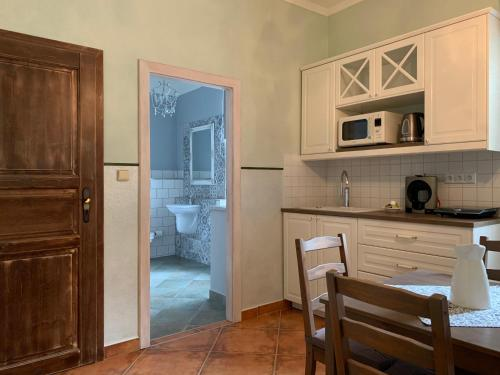 A kitchen or kitchenette at Pension Amadeus & Apartments