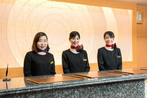 Area lobi atau resepsionis di Kagoshima Plaza Hotel Tenmonkan