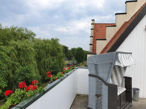 Ein Balkon oder eine Terrasse in der Unterkunft Pension Marktblick