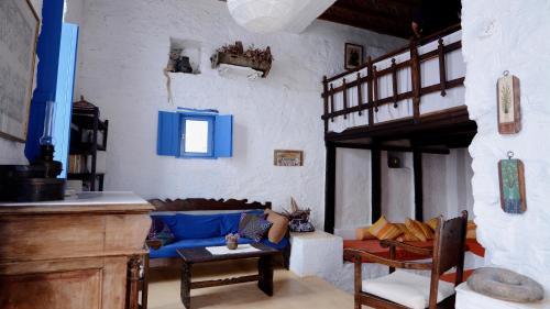 A seating area at villa Clio Serifos