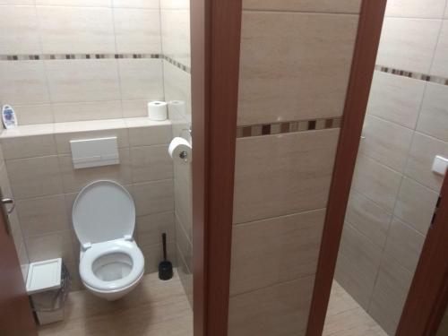 Kúpeľňa v ubytovaní Vinárna U Houslí