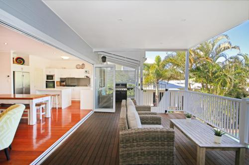 A balcony or terrace at STUNNING BEACHSIDE HOLIDAY HOME