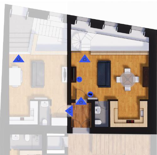 The floor plan of APA D - Loft Guesthouse Jardim das Maes Charming