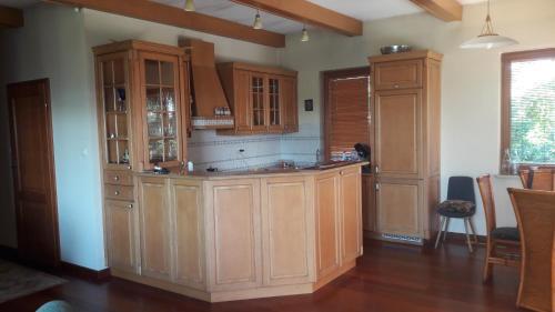 A kitchen or kitchenette at Dom nad jeziorem przy lesie