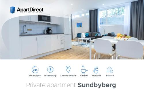 A kitchen or kitchenette at ApartDirect Sundbyberg