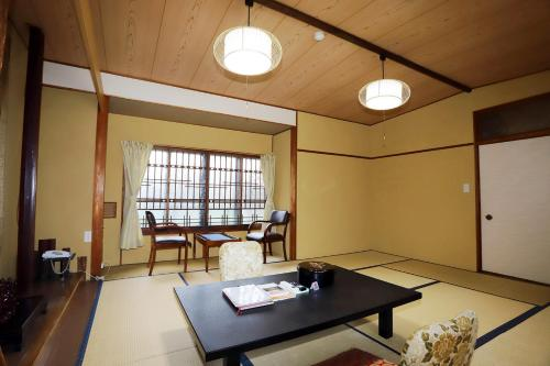A seating area at Hinode Ryokan