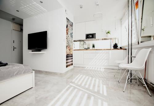 A kitchen or kitchenette at Super komfortowe mieszkanie - MTB Narty Góry Sowie