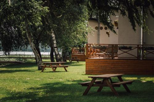 A garden outside Lake House Resto