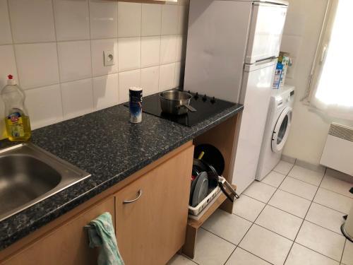 A kitchen or kitchenette at Une chambre disponible dans un appartement de deux chambres