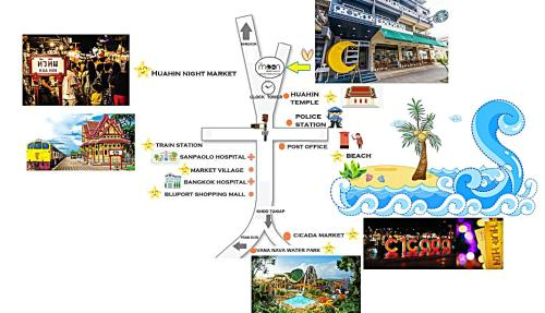 The floor plan of The Moon Hostel Huahin