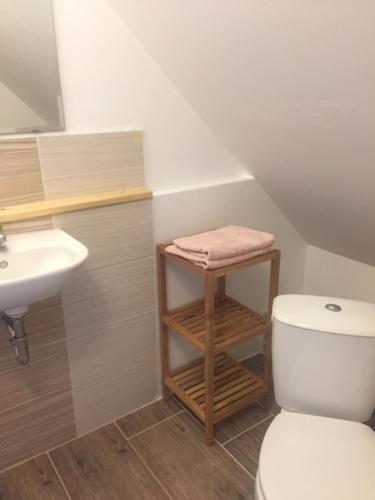 A bathroom at apartmán s výhledem na hrad Loket