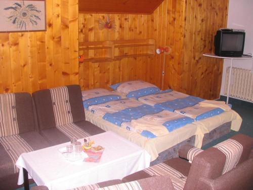 Postel nebo postele na pokoji v ubytování Penzion Pstruh