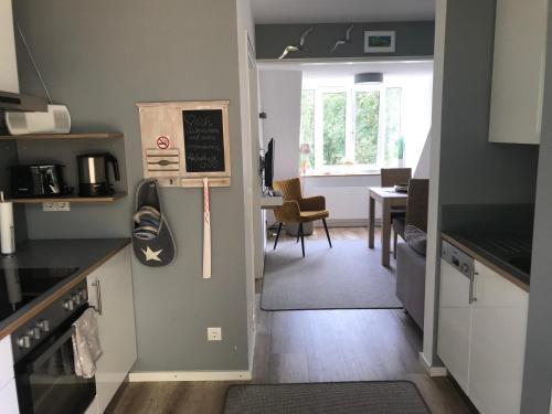 Küche/Küchenzeile in der Unterkunft Kajüte Holtenau