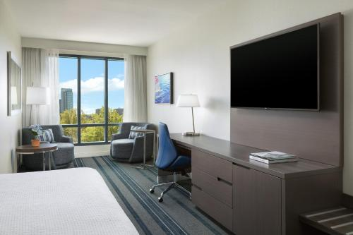 A television and/or entertainment center at Courtyard by Marriott Boston Cambridge