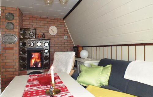 Ein Bett oder Betten in einem Zimmer der Unterkunft Ferienhaus L�btheen Probst Jesar