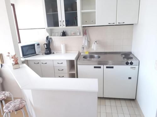 A kitchen or kitchenette at flat wall street