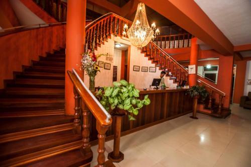 The lobby or reception area at Hotel Cabaña Quinta