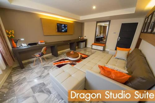 A seating area at Dragon River Avenue