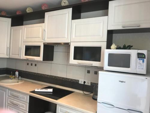 Кухня или мини-кухня в Апартаменты у озёра
