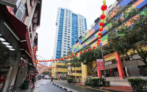 The surrounding neighborhood or a neighborhood close to the capsule hotel