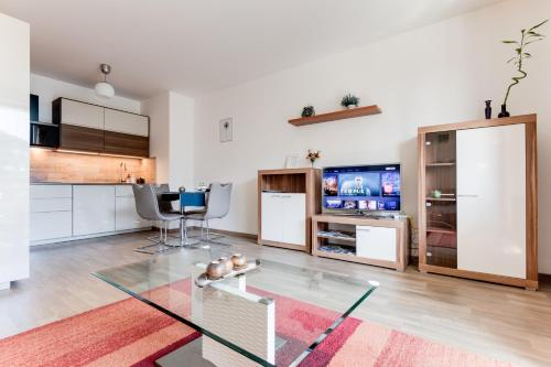 TV/Unterhaltungsangebot in der Unterkunft Stylish Apartment in Waltrovka