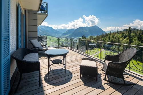Een balkon of terras bij Hotel Villa Honegg
