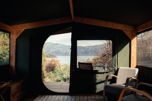 A general mountain view or a mountain view taken from the luxury tent