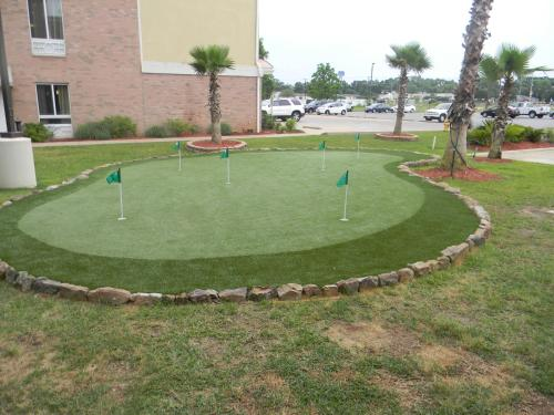 A garden outside Candlewood Suites Alexandria