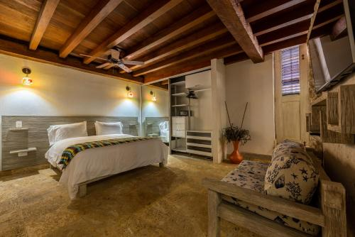 A bed or beds in a room at Apartamento Virrey